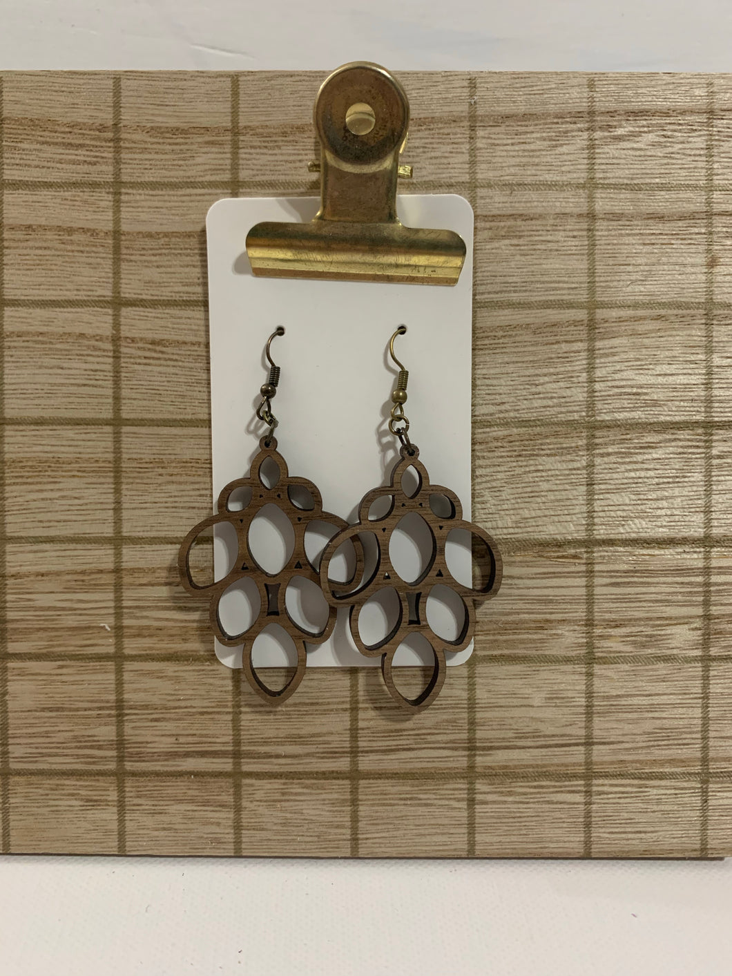 Wood Cluster Drop Earrings