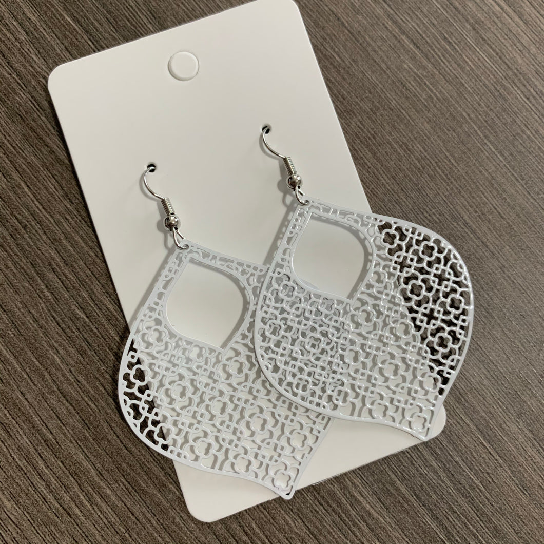 White Moroccan Metal Earrings