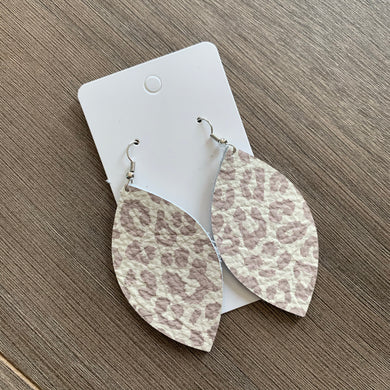 Beige Gray Animal Print Leaf Leather Earrings