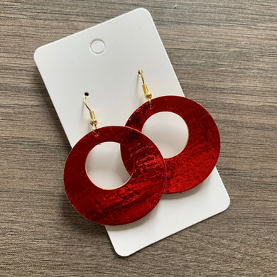 Metallic Red Cork Open Circles leather Earrings
