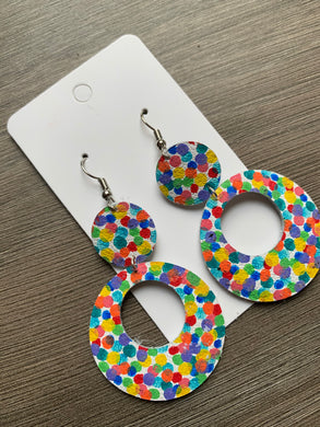 Painted Confetti Open Circle Drops Leather Earrings