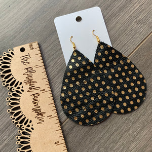Large Black and Gold Polkadot Teardrop Leather Earrings