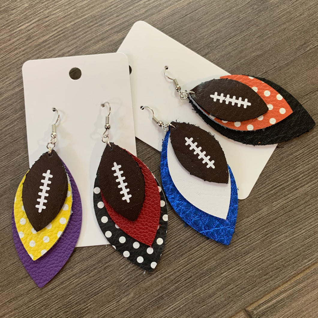 Custom Team Football Leather Earrings