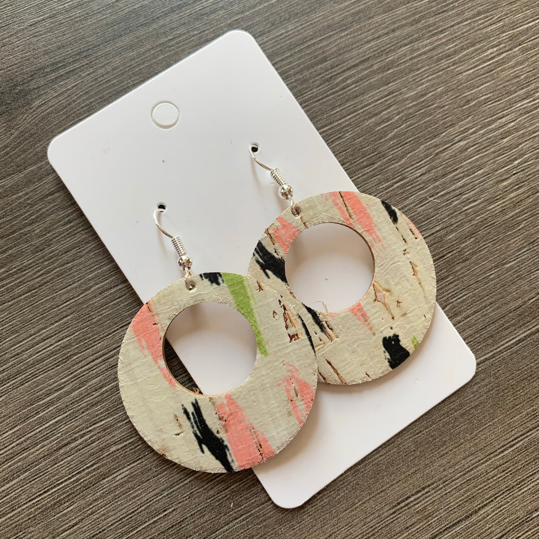 Brushstroke Open Circle Cork Leather Earrings