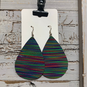 Multicolored Stripe Teardrop Leather Earrings