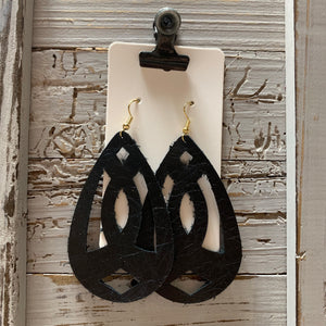 Black Avonlea Leather Earrings