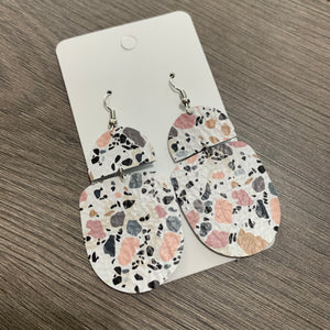 Pink and Gray Granite Drop Leather Earrings