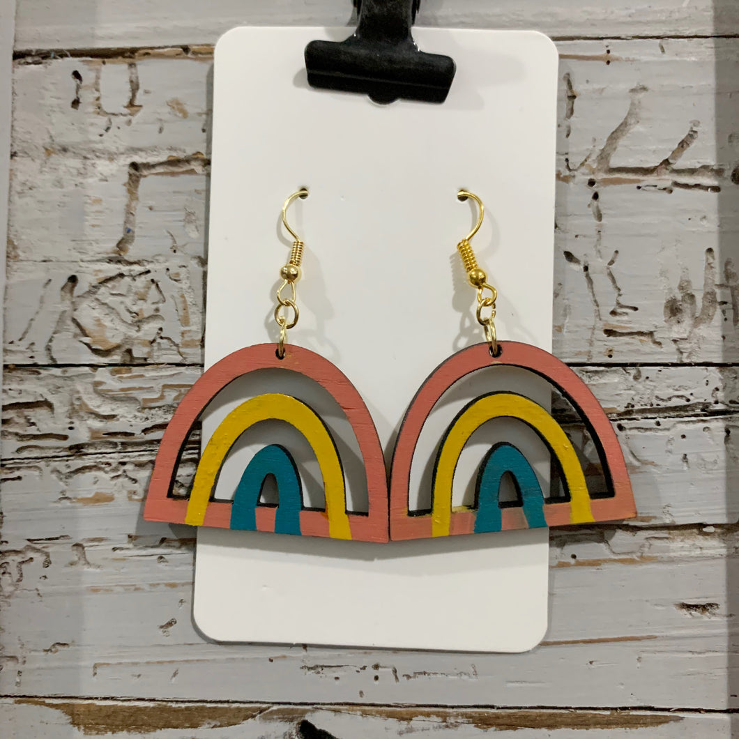 Wood Rainbow Earrings