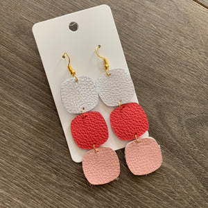 Pink Ombré Drop Leather Earrings