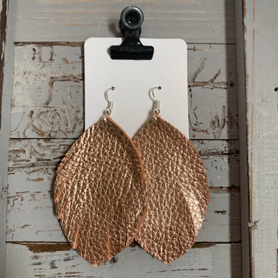 Rose Gold Fringe Leather Earrings