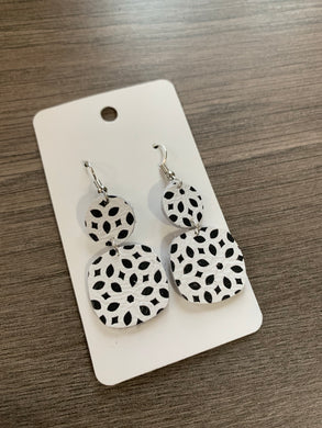 Black and White Small Drop Leather Earrings