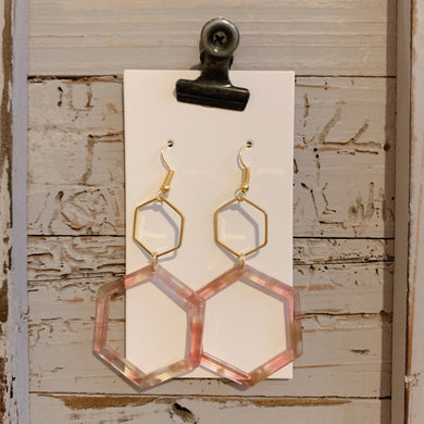 Blush Pink Tortoise Hexi Drop Acrylic Earrings