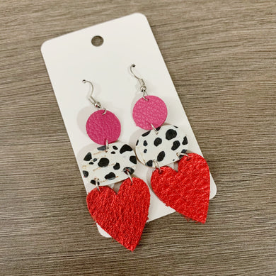 Valentine Mix Drop Leather Earrings