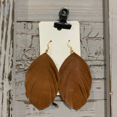 Brown Leather Fringe Leather Earrings
