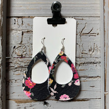 Black Floral Open Teardrop Leather Earrings