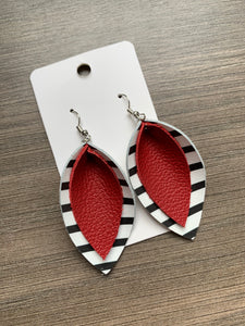 Black and Red Double Petal Leather Earrings