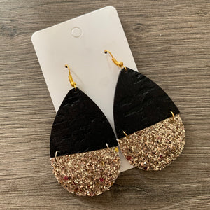 Black and Gold Split Teardrop Leather Cork Earrings