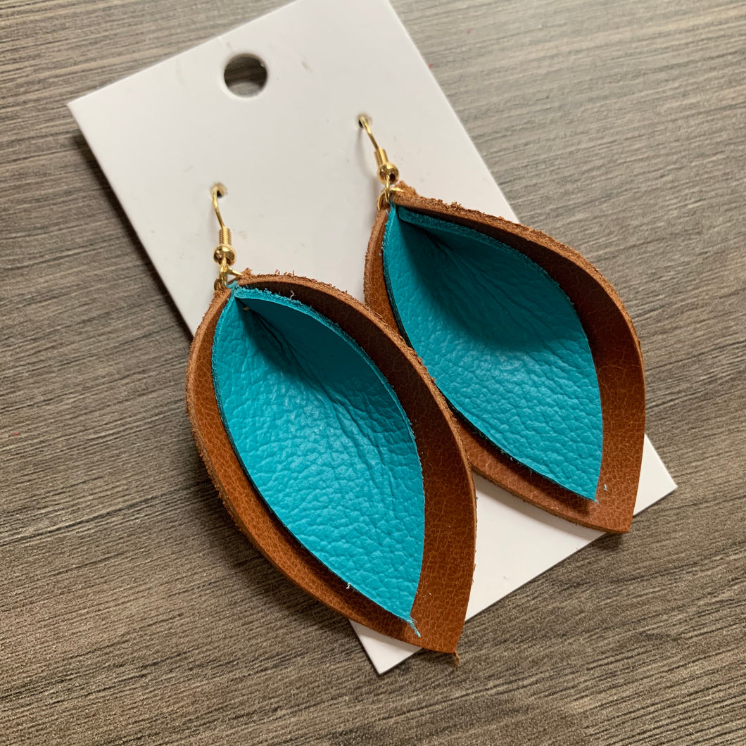 Brown and Teal Double Petals Leather Earrings