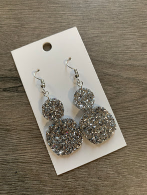 Small Silver Glitter Leather Drops Earrings