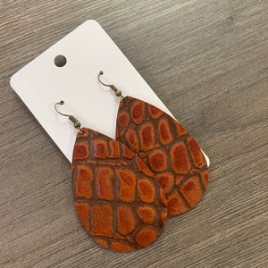 Rust Snake Skin Leather Teardrop Earrings