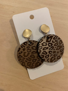 Engraved Leopard Wood Circle Post Earrings