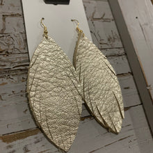 Light Gold Feather Leather Earrings