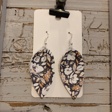 Small Navy Floral Petal Leather Earrings