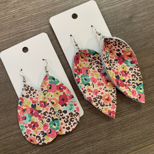 Pink Floral Petal and Teardrop Leather Earrings