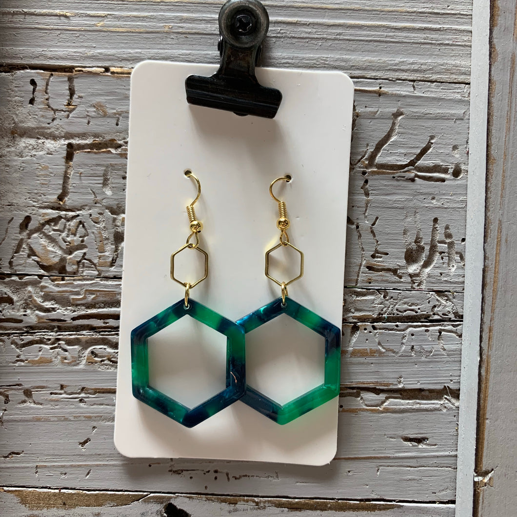 Small Green and Blue Hexi Acrylic Drop Earrings