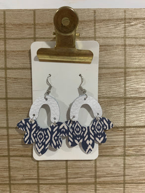 White and Navy Drop Leather Earrings