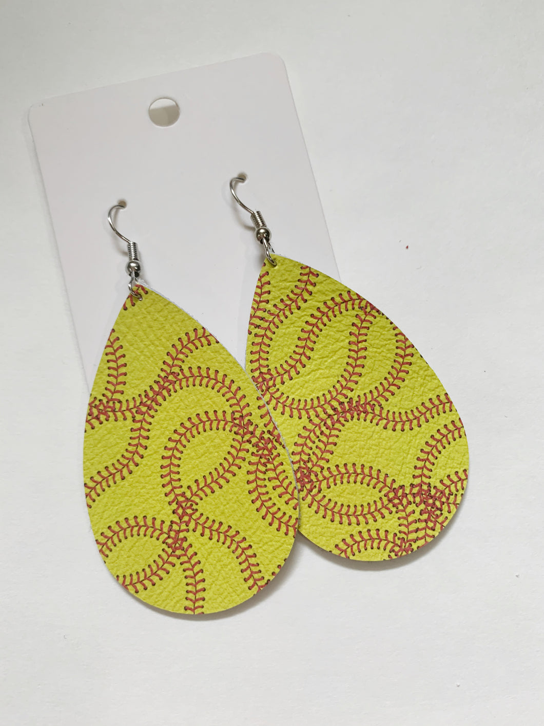 Softball Teardrop Leather Earrings