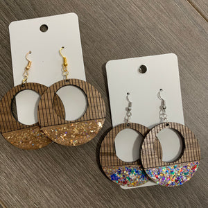 Engraved Open Hoop Glitter Wooden Earrings