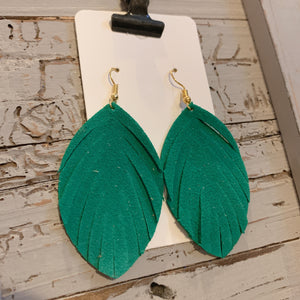 Kelly Green Fringe Leather Earrings