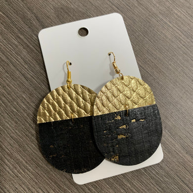 Black and Gold Split Cork Leather Earrings