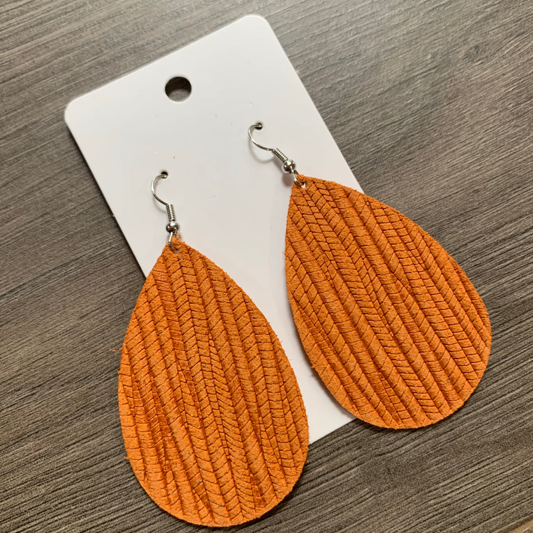 Orange Textured Teardrop Leather Earrings