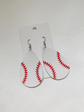 Baseball Teardrop Leather Earrings (can personalize with number)