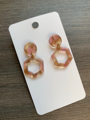 Baby Blush Acrylic Hexi Drop Earrings