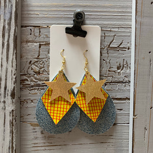 Woody Dis Inspired Cowboy Leather Earrings