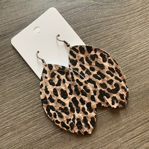 Animal Print Fringe Leather Earrings