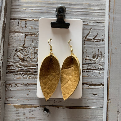 Small Tan Petal Leather Earrings