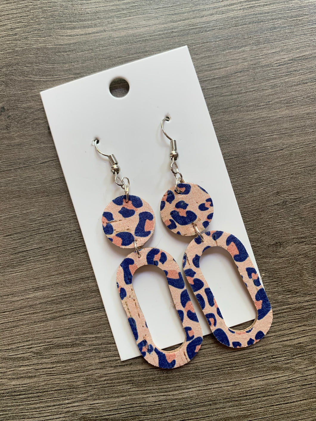 Blush and Navy Leopard Drop Cork Leather Earrings
