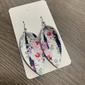 Small Purple and Navy Striped Floral Petal Leather Earrings
