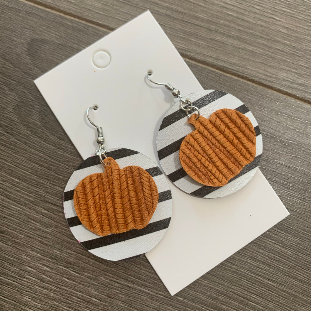 Striped Circle Pumpkin Leather Earrings