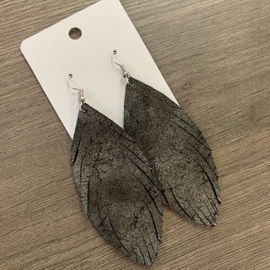 Dark Gray Shimmer Fringe Leather Earrings