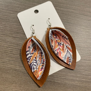 Fall Floral Double Petal Leather Earrings