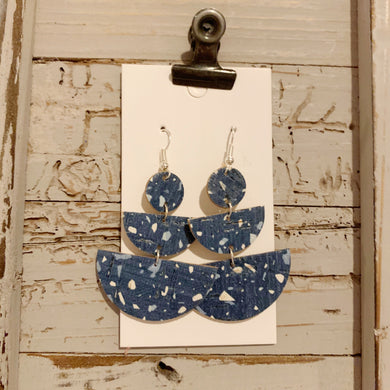 Blue Granite Half Circle Drop Cork Leather Earrings