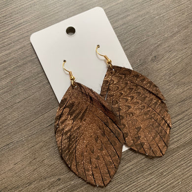 Copper Fringe Leather Earrings