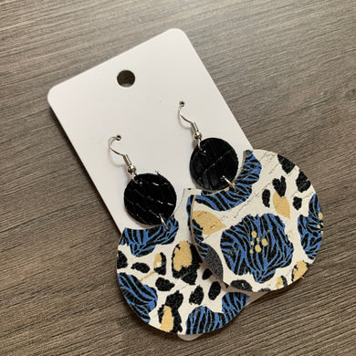 Blue Floral Animal Print Circle Drop Leather Earrings