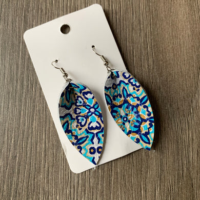 Blue Mosaic Small Petal Leather Earrings