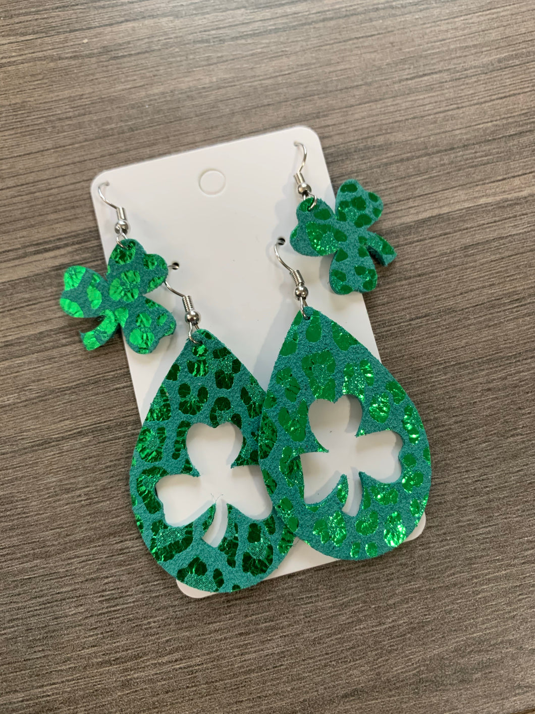 Mommy and Me Shamrock Leather Earringd